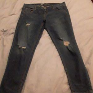 Like new 'distressed' dark wash boyfriend jeans